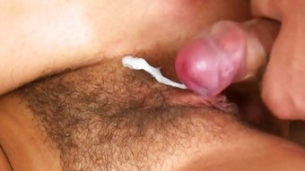 Bushy Pussy Gets Damp With Jizz  HD
