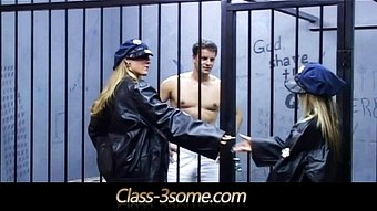 Horny blondes bangs a handsome male in the jail  HD