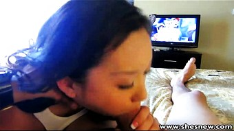 ShesNew Fucking petite Chinese girlfriend while watching a game  HD