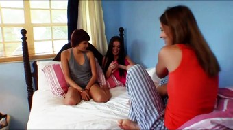 Girls only slumber party starts with truth or dare and turns into an orgy