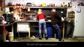 Two blondes fights at work –the engineer fucks the loser