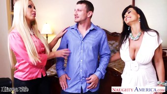 Hot wives Lisa Ann and Nikki Benz sharing a big di