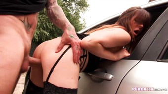Horny Samantha fucked against a car