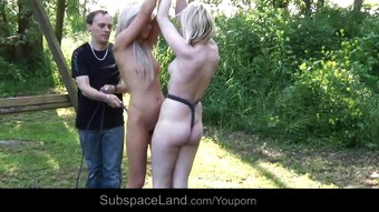 Double bondage perversion for two blonde slaves