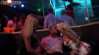 Male stripper ends up having a threesome with horny housewives