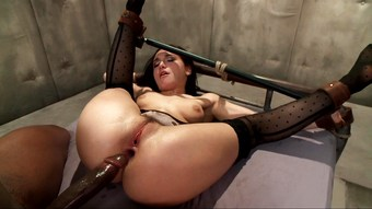 Helpless slutty mom dicked hard anally with black cock