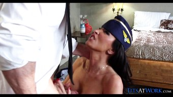 Flight Attendant Fucks Pilot