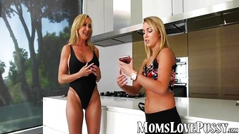 Hot MILF Brandi Love bangs her kinky stepdaughter on sofa